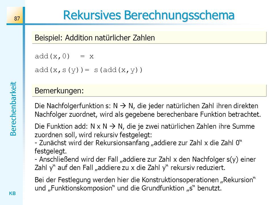 KB Berechenbarkeit 87 Rekursives Berechnungsschema Beispiel: Addition natürlicher Zahlen add(x,0) = x add(x,s(y))= s(add(x,y)) Bemerkungen: Die Nachfo