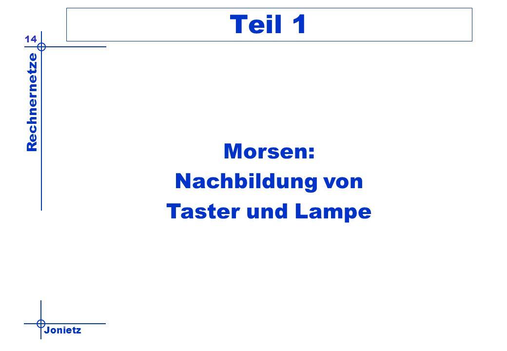 Jonietz Rechnernetze 14 Teil 1 Morsen: Nachbildung von Taster und Lampe