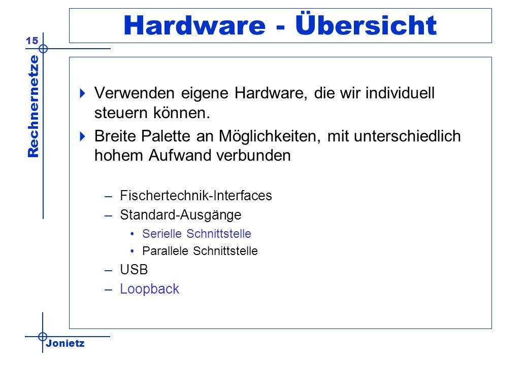 Jonietz Rechnernetze 15 Hardware - Übersicht Verwenden eigene Hardware, die wir individuell steuern können. Breite Palette an Möglichkeiten, mit unter