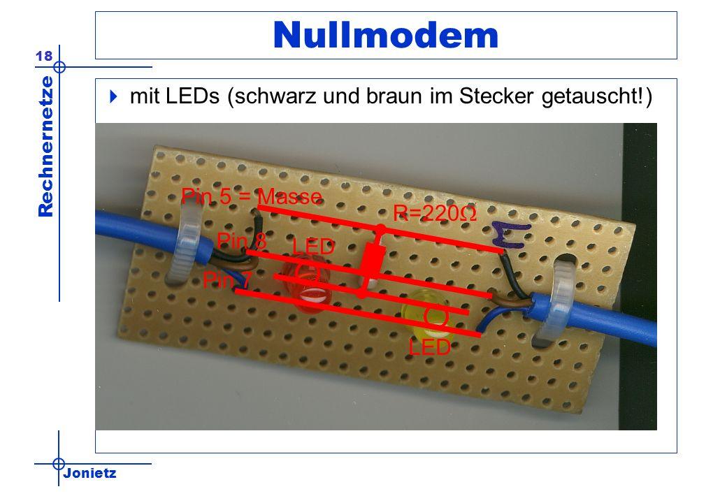 Jonietz Rechnernetze 18 Nullmodem mit LEDs (schwarz und braun im Stecker getauscht!) R=220 LED Pin 5 = Masse Pin 7 Pin 8