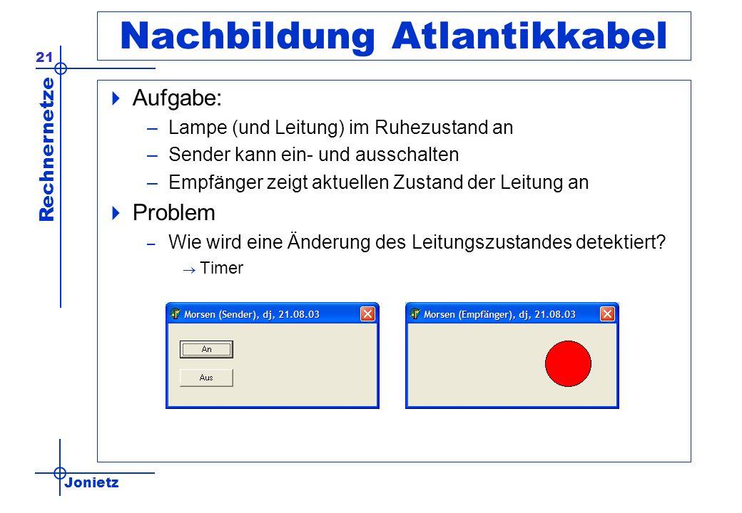 Jonietz Rechnernetze 21 Nachbildung Atlantikkabel Aufgabe: –Lampe (und Leitung) im Ruhezustand an –Sender kann ein- und ausschalten –Empfänger zeigt a