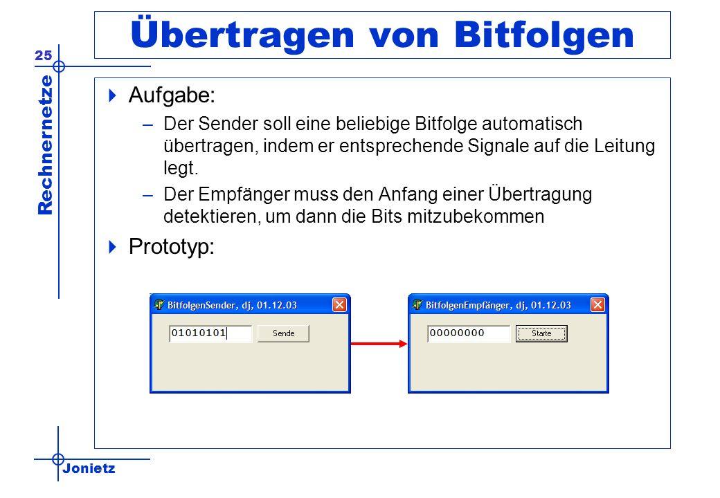 Jonietz Rechnernetze 25 Übertragen von Bitfolgen Aufgabe: –Der Sender soll eine beliebige Bitfolge automatisch übertragen, indem er entsprechende Sign