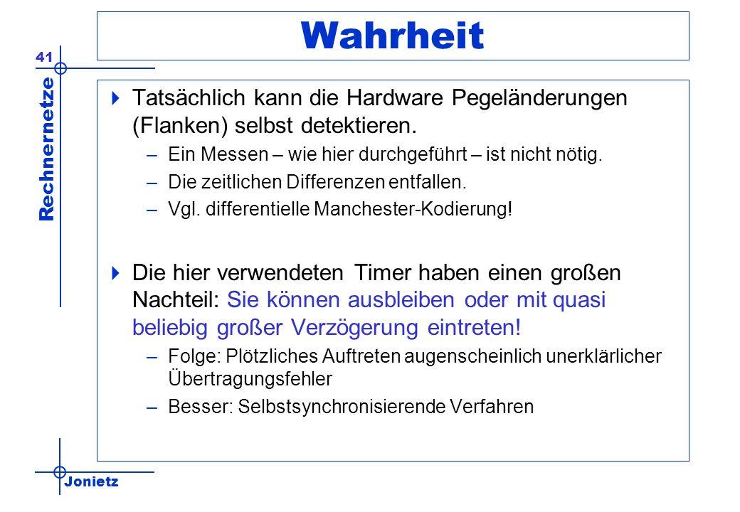 Jonietz Rechnernetze 41 Wahrheit Tatsächlich kann die Hardware Pegeländerungen (Flanken) selbst detektieren. –Ein Messen – wie hier durchgeführt – ist