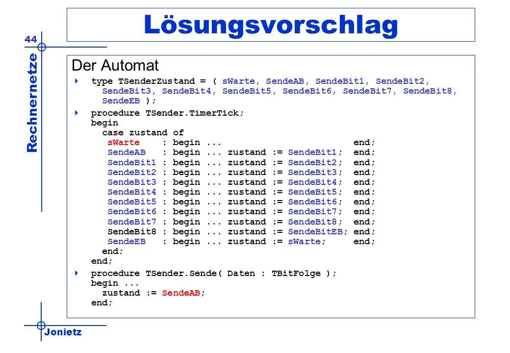 Jonietz Rechnernetze 44 Lösungsvorschlag Der Automat type TSenderZustand = ( sWarte, SendeAB, SendeBit1, SendeBit2, SendeBit3, SendeBit4, SendeBit5, SendeBit6, SendeBit7, SendeBit8, SendeEB ); procedure TSender.TimerTick; begin case zustand of sWarte : begin...
