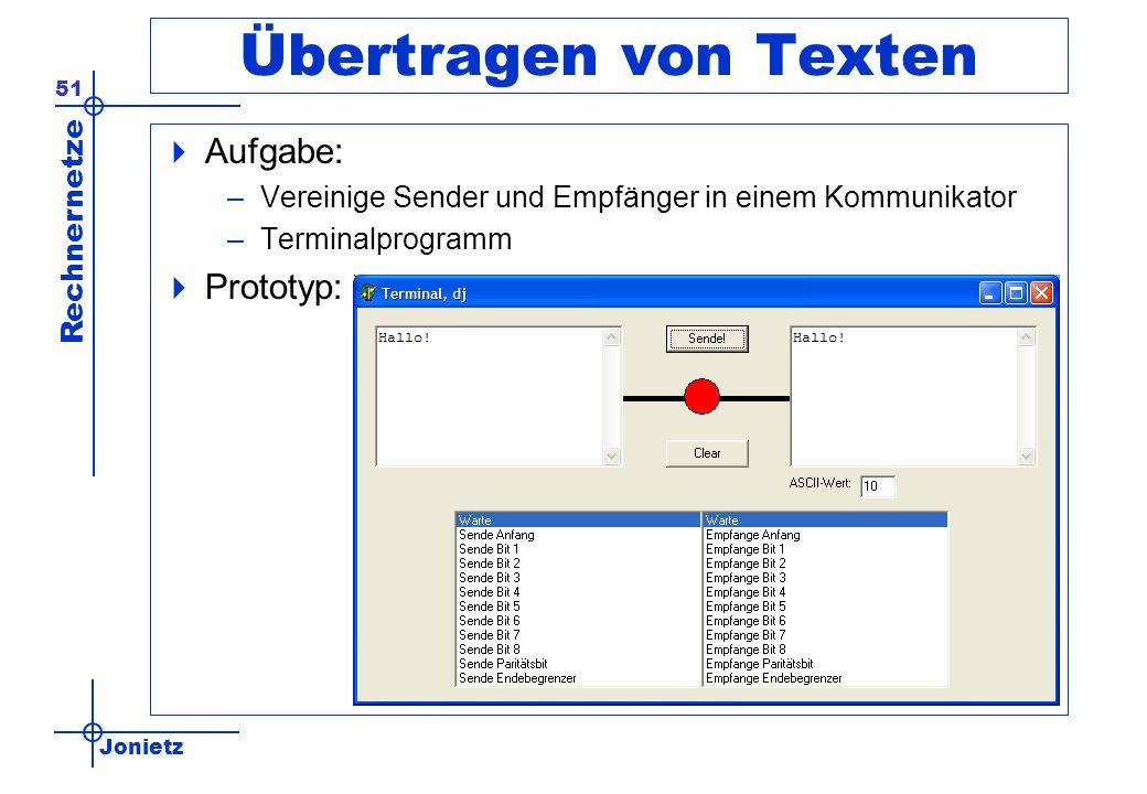 Jonietz Rechnernetze 51 Übertragen von Texten Aufgabe: –Vereinige Sender und Empfänger in einem Kommunikator –Terminalprogramm Prototyp: