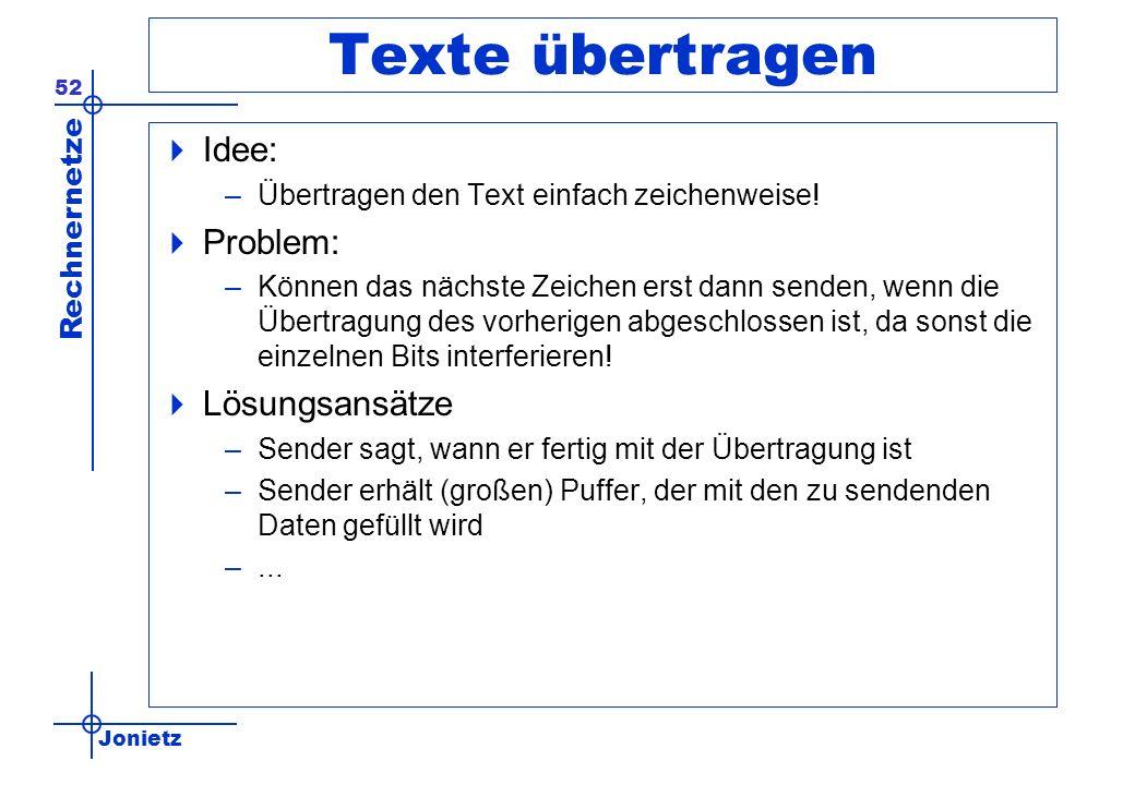 Jonietz Rechnernetze 52 Texte übertragen Idee: –Übertragen den Text einfach zeichenweise! Problem: –Können das nächste Zeichen erst dann senden, wenn