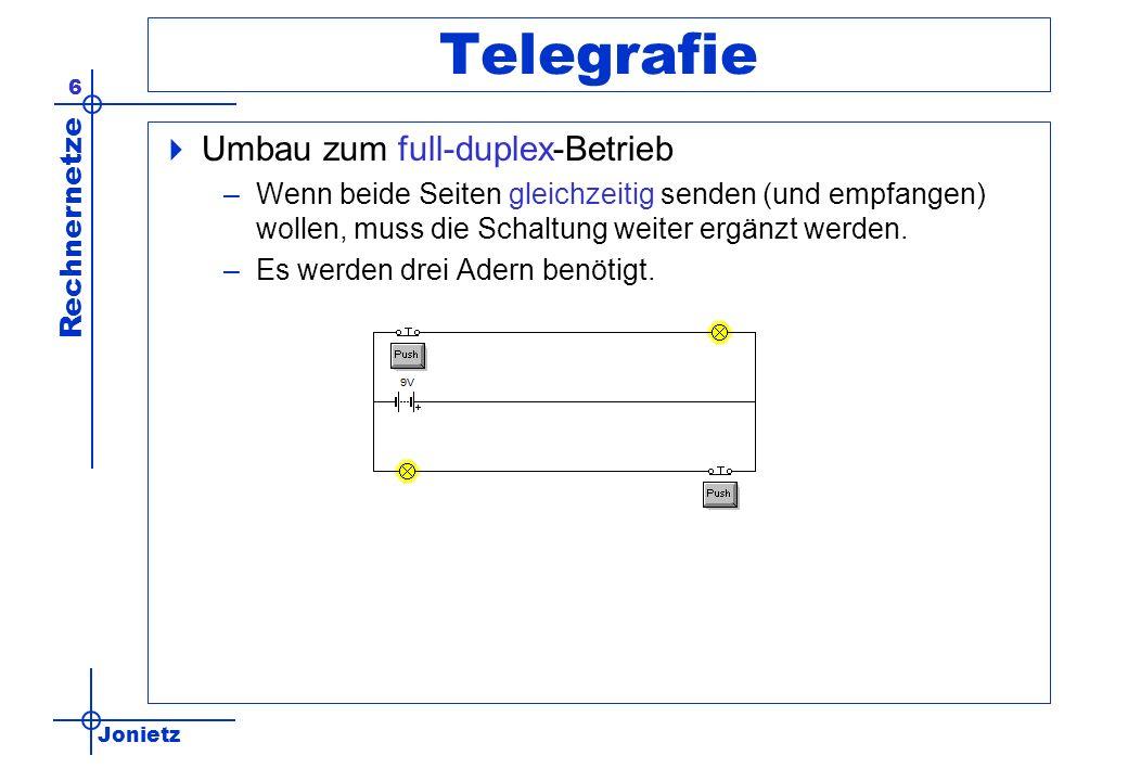 Jonietz Rechnernetze 6 Telegrafie Umbau zum full-duplex-Betrieb –Wenn beide Seiten gleichzeitig senden (und empfangen) wollen, muss die Schaltung weiter ergänzt werden.