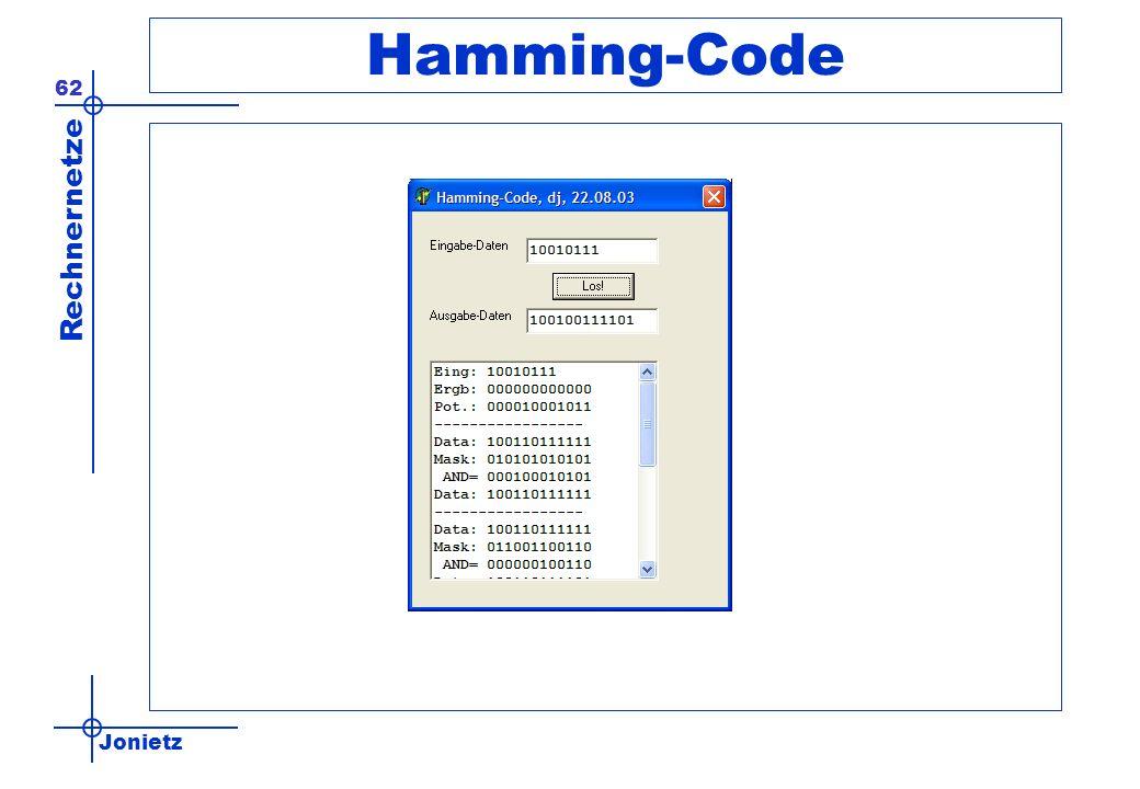 Jonietz Rechnernetze 62 Hamming-Code