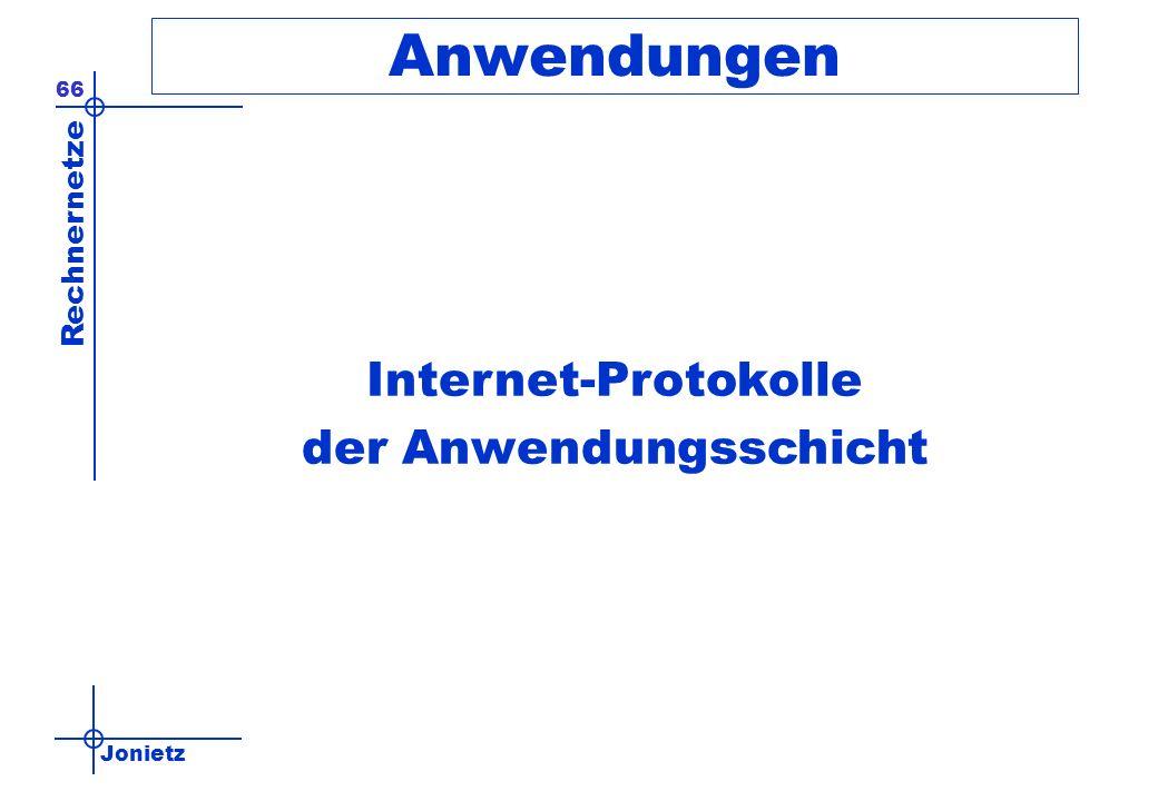 Jonietz Rechnernetze 66 Anwendungen Internet-Protokolle der Anwendungsschicht