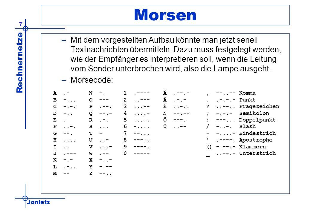 Jonietz Rechnernetze 7 Morsen –Mit dem vorgestellten Aufbau könnte man jetzt seriell Textnachrichten übermitteln. Dazu muss festgelegt werden, wie der