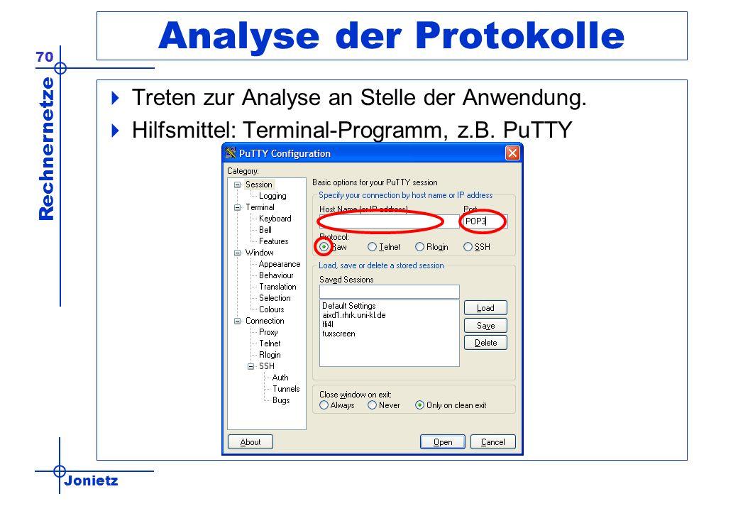 Jonietz Rechnernetze 70 Analyse der Protokolle Treten zur Analyse an Stelle der Anwendung. Hilfsmittel: Terminal-Programm, z.B. PuTTY