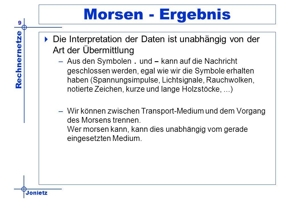 Jonietz Rechnernetze 9 Morsen - Ergebnis Die Interpretation der Daten ist unabhängig von der Art der Übermittlung –Aus den Symbolen.