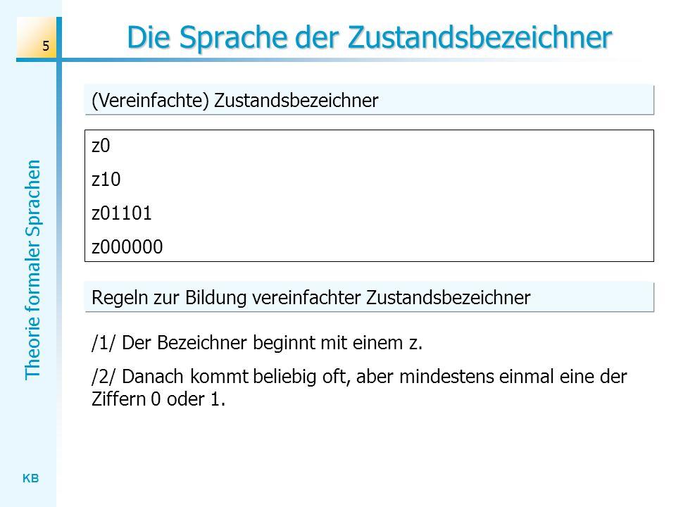 KB Theorie formaler Sprachen 6 Grammatik S zA A 0 A 1 A 0A A 1A z0 z10 z01101 z000000 (Vereinfachte) Zustandsbezeichner Grammatikregeln