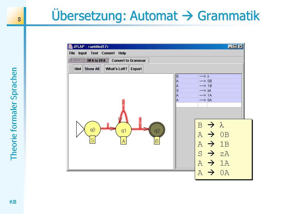 KB Theorie formaler Sprachen 39 Übung Entwickeln Sie Kellerautomaten, die die folgenden Sprachen akzeptieren: Terminalsymbole: , a , b , c Startsymbol: Produktionen: ::= a | b | c ::= | ::= > | > ::= | Terminalsymbole: Startsymbol: Produktionen: ::= | > ::= |
