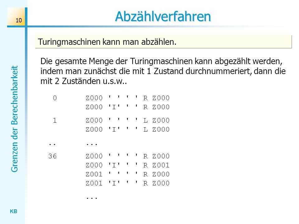 KB Grenzen der Berechenbarkeit 10 Abzählverfahren Turingmaschinen kann man abzählen. Die gesamte Menge der Turingmaschinen kann abgezählt werden, inde