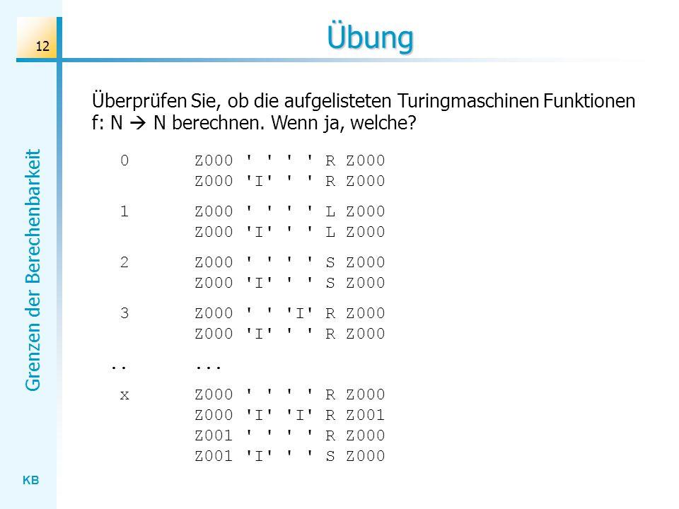 KB Grenzen der Berechenbarkeit 12 Übung Überprüfen Sie, ob die aufgelisteten Turingmaschinen Funktionen f: N N berechnen. Wenn ja, welche? Z000 ' ' '