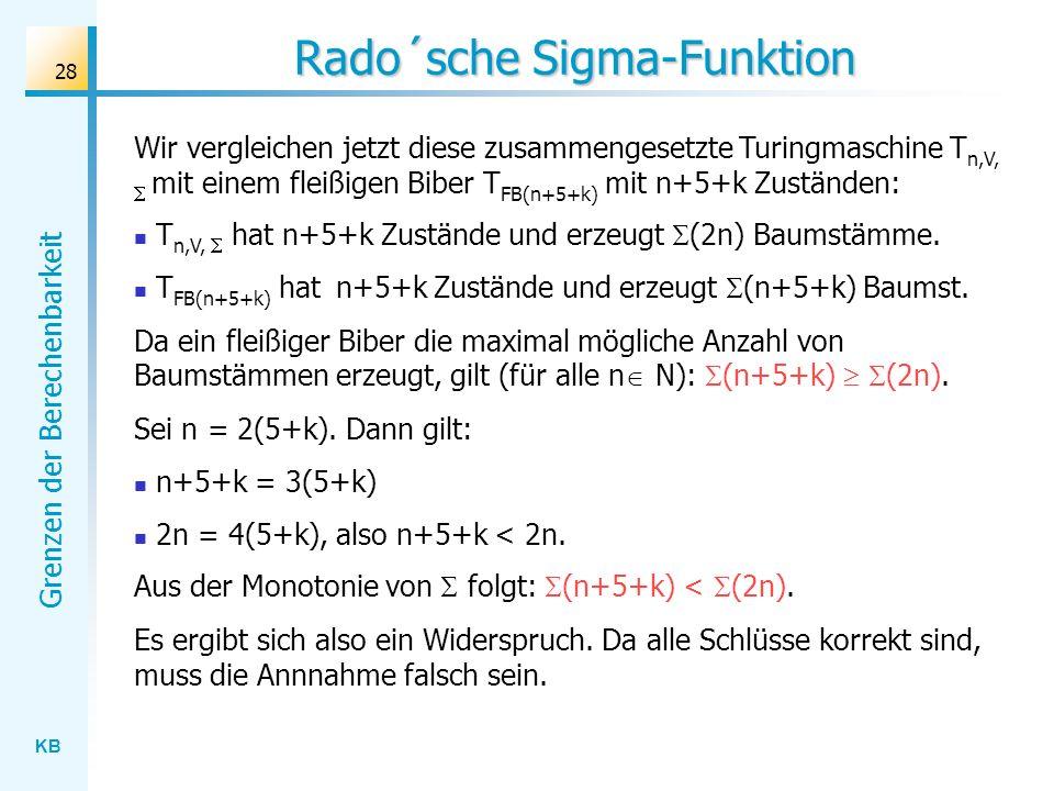 KB Grenzen der Berechenbarkeit 28 Rado´sche Sigma-Funktion Wir vergleichen jetzt diese zusammengesetzte Turingmaschine T n,V, mit einem fleißigen Bibe