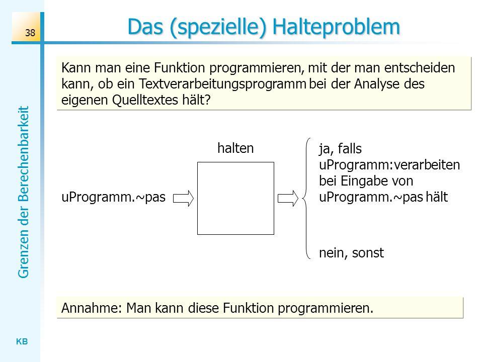 KB Grenzen der Berechenbarkeit 38 Das (spezielle) Halteproblem halten uProgramm.~pas ja, falls uProgramm:verarbeiten bei Eingabe von uProgramm.~pas hä