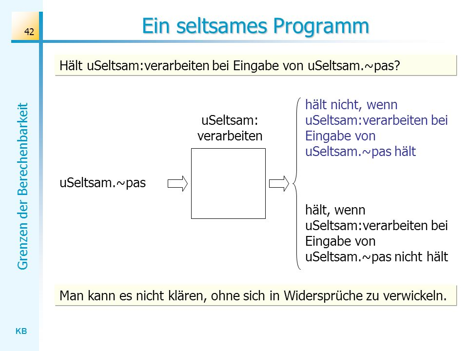 KB Grenzen der Berechenbarkeit 42 Ein seltsames Programm uSeltsam: verarbeiten uSeltsam.~pas hält nicht, wenn uSeltsam:verarbeiten bei Eingabe von uSe