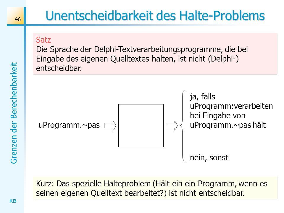KB Grenzen der Berechenbarkeit 46 Unentscheidbarkeit des Halte-Problems Satz Die Sprache der Delphi-Textverarbeitungsprogramme, die bei Eingabe des ei