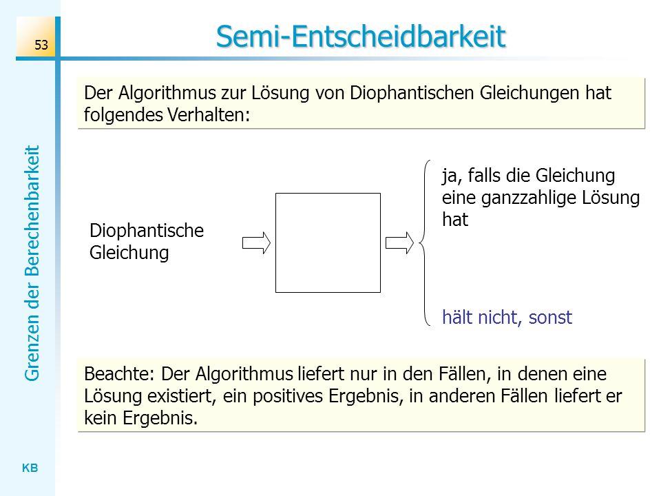 KB Grenzen der Berechenbarkeit 53 Semi-Entscheidbarkeit Der Algorithmus zur Lösung von Diophantischen Gleichungen hat folgendes Verhalten: Beachte: De