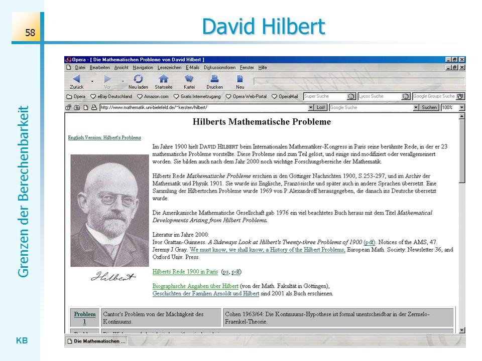 KB Grenzen der Berechenbarkeit 58 David Hilbert