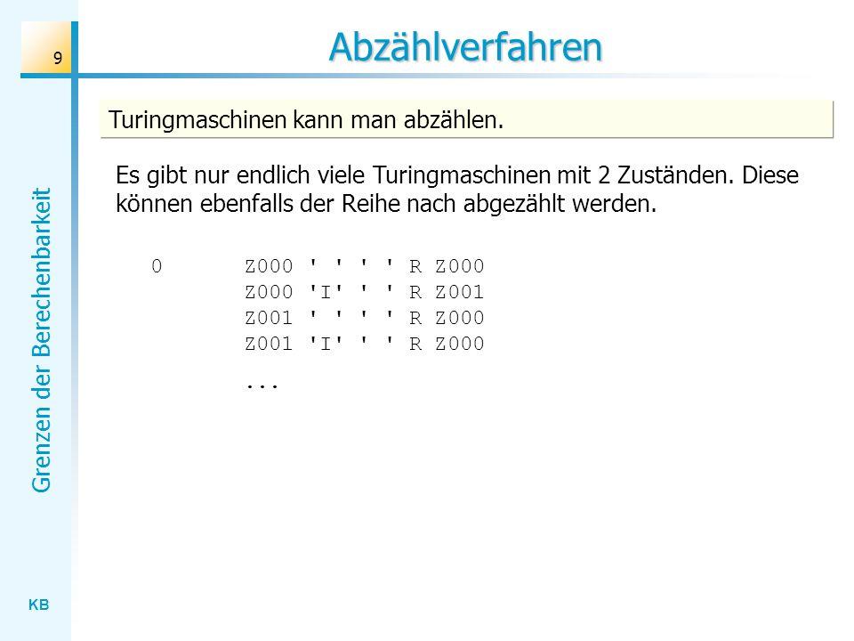 KB Grenzen der Berechenbarkeit 9 Abzählverfahren Turingmaschinen kann man abzählen. Es gibt nur endlich viele Turingmaschinen mit 2 Zuständen. Diese k