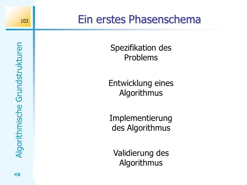 KB Algorithmische Grundstrukturen 103 Ein erstes Phasenschema Spezifikation des Problems Entwicklung eines Algorithmus Implementierung des Algorithmus