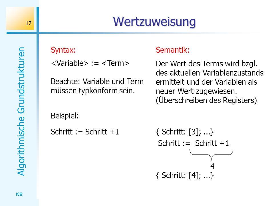 KB Algorithmische Grundstrukturen 17 Wertzuweisung Semantik:Syntax: := Schritt := Schritt +1 Beachte: Variable und Term müssen typkonform sein. Der We