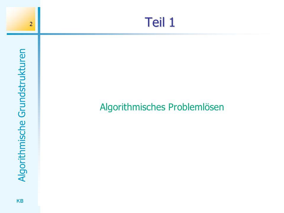 KB Algorithmische Grundstrukturen 2 Teil 1 Algorithmisches Problemlösen