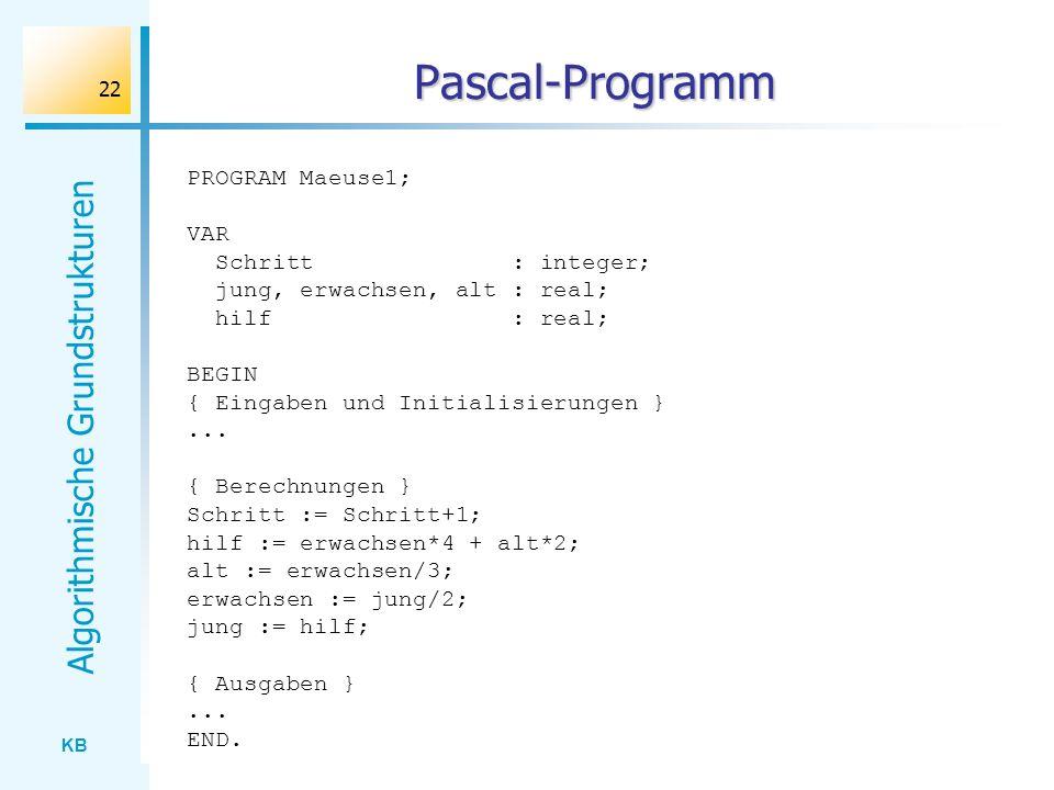 KB Algorithmische Grundstrukturen 22 Pascal-Programm PROGRAM Maeuse1; VAR Schritt : integer; jung, erwachsen, alt : real; hilf : real; BEGIN { Eingabe