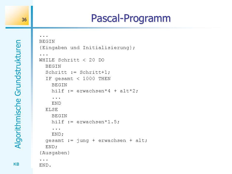 KB Algorithmische Grundstrukturen 36 Pascal-Programm... BEGIN {Eingaben und Initialisierung};... WHILE Schritt < 20 DO BEGIN Schritt := Schritt+1; IF