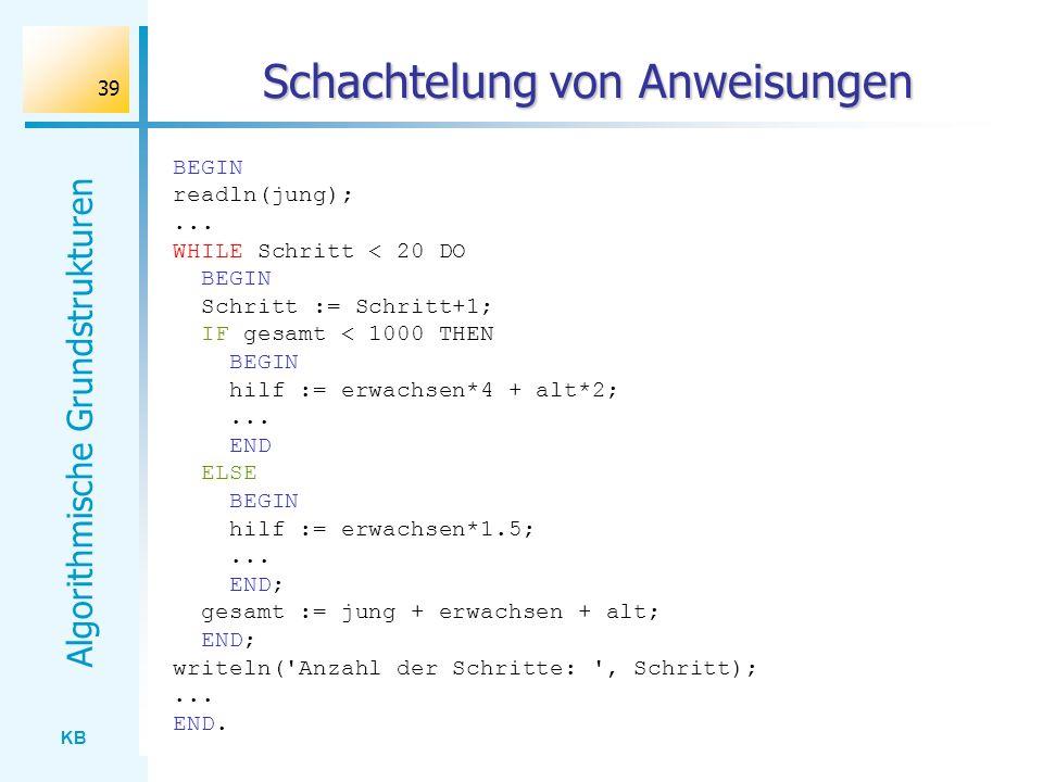 KB Algorithmische Grundstrukturen 39 Schachtelung von Anweisungen BEGIN readln(jung);... WHILE Schritt < 20 DO BEGIN Schritt := Schritt+1; IF gesamt <