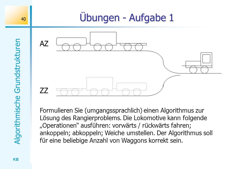 KB Algorithmische Grundstrukturen 40 Übungen - Aufgabe 1 AZ ZZ Formulieren Sie (umgangssprachlich) einen Algorithmus zur Lösung des Rangierproblems. D