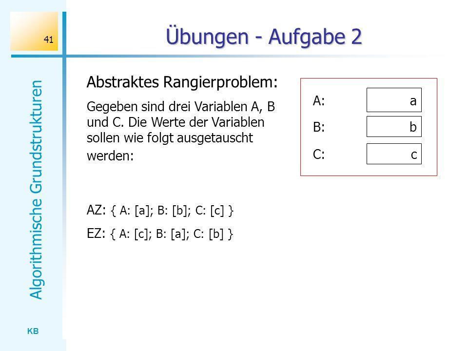 KB Algorithmische Grundstrukturen 41 Übungen - Aufgabe 2 AZ: { A: [a]; B: [b]; C: [c] } EZ: { A: [c]; B: [a]; C: [b] } Abstraktes Rangierproblem: Gege
