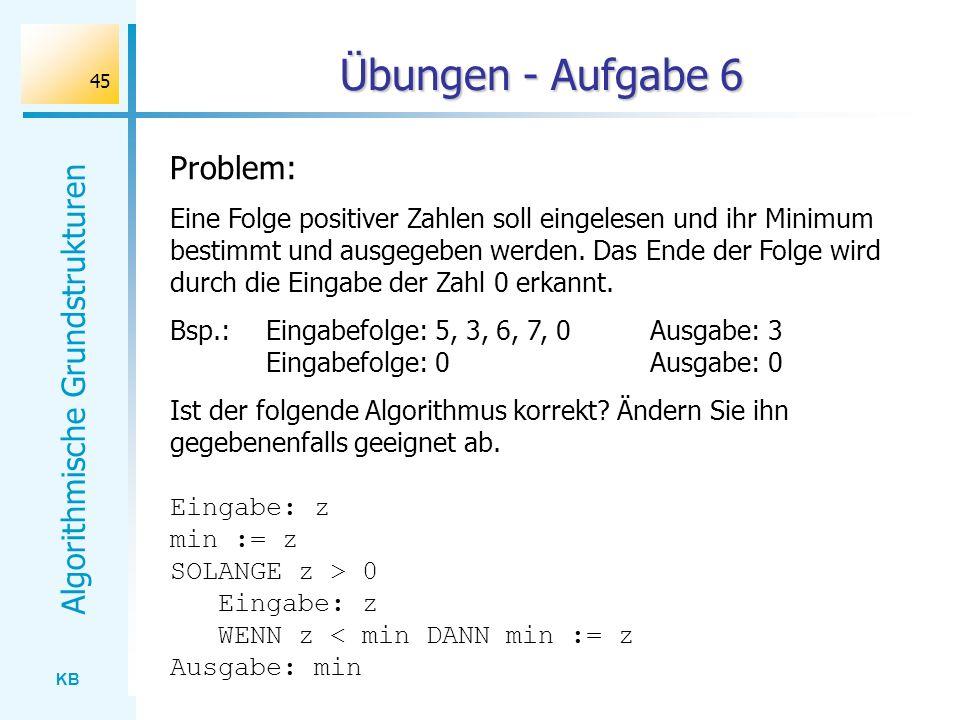 KB Algorithmische Grundstrukturen 45 Übungen - Aufgabe 6 Problem: Eine Folge positiver Zahlen soll eingelesen und ihr Minimum bestimmt und ausgegeben