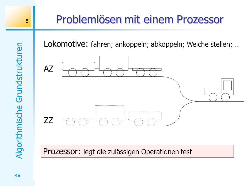 KB Algorithmische Grundstrukturen 5 Problemlösen mit einem Prozessor AZ ZZ Prozessor: legt die zulässigen Operationen fest Lokomotive: fahren; ankoppe