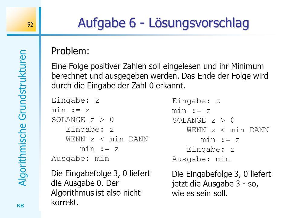 KB Algorithmische Grundstrukturen 52 Aufgabe 6 - Lösungsvorschlag Problem: Eine Folge positiver Zahlen soll eingelesen und ihr Minimum berechnet und a