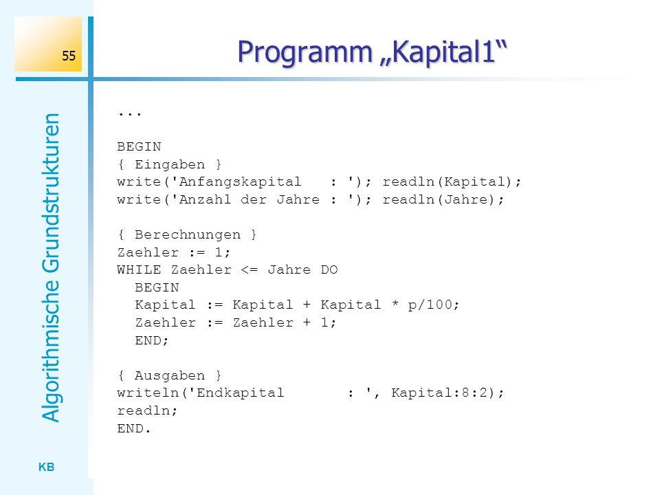 KB Algorithmische Grundstrukturen 55 Programm Kapital1... BEGIN { Eingaben } write('Anfangskapital : '); readln(Kapital); write('Anzahl der Jahre : ')
