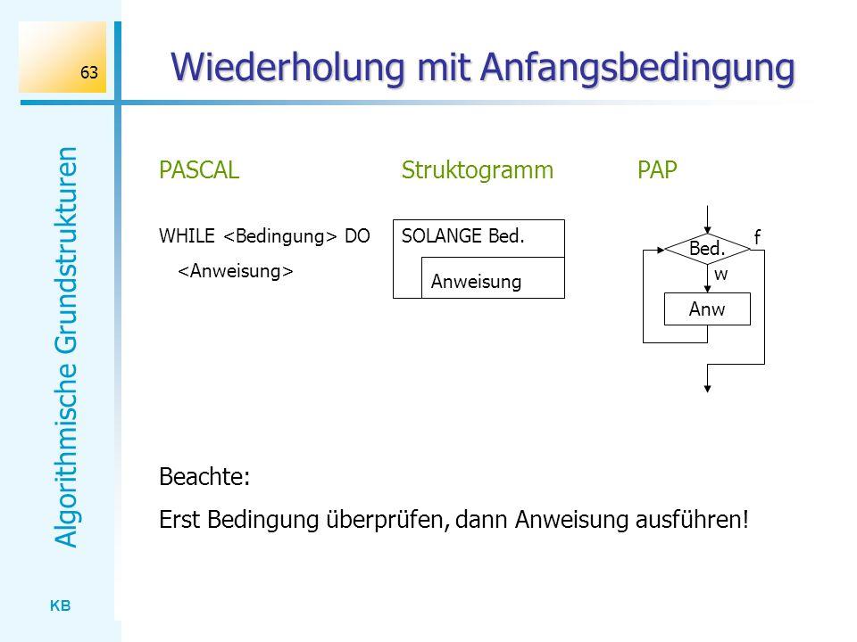 KB Algorithmische Grundstrukturen 63 Wiederholung mit Anfangsbedingung WHILE DO PASCAL SOLANGE Bed. Anweisung StruktogrammPAP Bed. Anw w f Beachte: Er