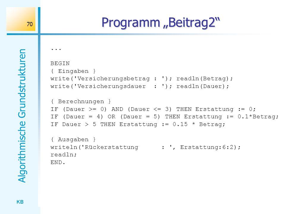 KB Algorithmische Grundstrukturen 70 Programm Beitrag2... BEGIN { Eingaben } write('Versicherungsbetrag : '); readln(Betrag); write('Versicherungsdaue