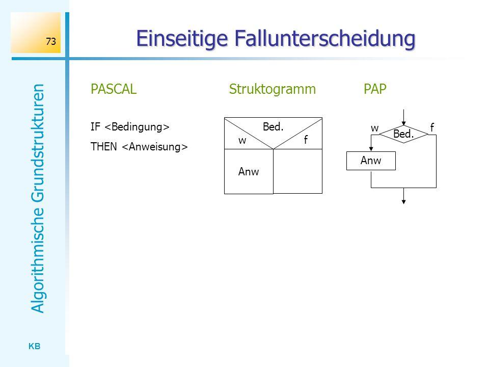 KB Algorithmische Grundstrukturen 73 Einseitige Fallunterscheidung IF THEN PASCAL Bed. w f StruktogrammPAP Anw Bed. Anw wf