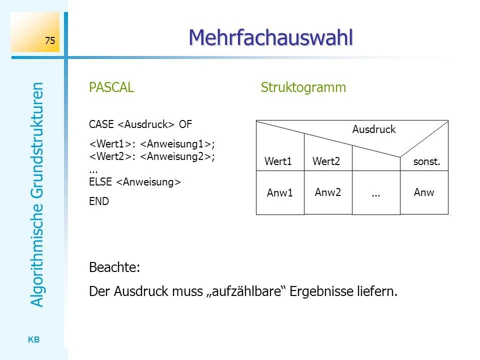 KB Algorithmische Grundstrukturen 75 Mehrfachauswahl CASE OF : ; : ;... ELSE END PASCAL Ausdruck Wert1 Wert2 sonst. Struktogramm Anw1 Anw2... Anw Beac