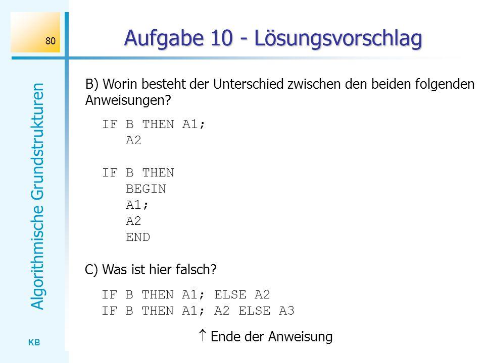 KB Algorithmische Grundstrukturen 80 Aufgabe 10 - Lösungsvorschlag B) Worin besteht der Unterschied zwischen den beiden folgenden Anweisungen? IF B TH