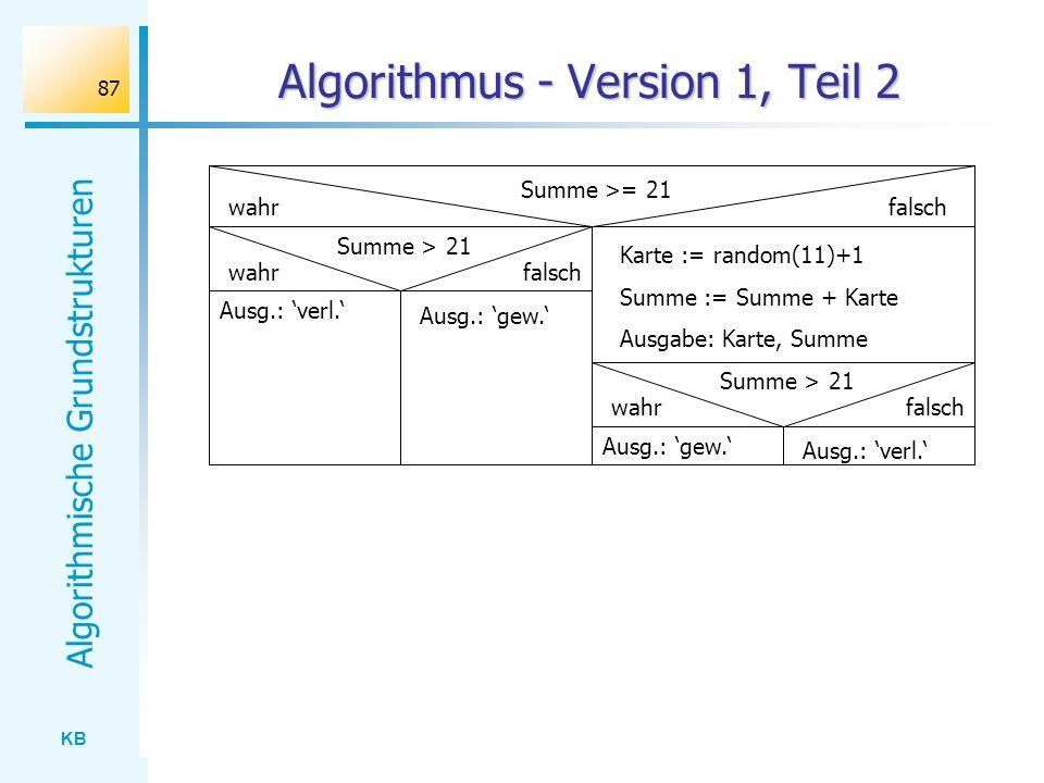 KB Algorithmische Grundstrukturen 87 Algorithmus - Version 1, Teil 2 Summe >= 21 wahrfalsch Summe > 21 falsch Ausg.: verl. Ausg.: gew. wahr Karte := r