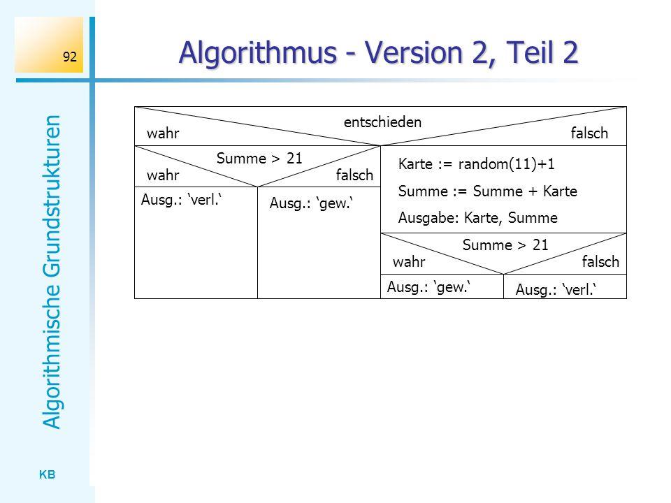 KB Algorithmische Grundstrukturen 92 Algorithmus - Version 2, Teil 2 entschieden wahrfalsch Summe > 21 falsch Ausg.: verl. Ausg.: gew. wahr Karte := r