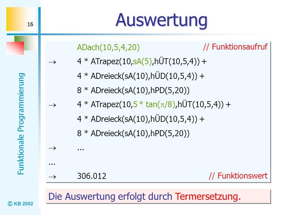 © KB 2002 Funktionale Programmierung 16 Auswertung ADach(10,5,4,20) 4 * ATrapez(10,sA(5),hÜT(10,5,4)) + 4 * ADreieck(sA(10),hÜD(10,5,4)) + 8 * ADreiec