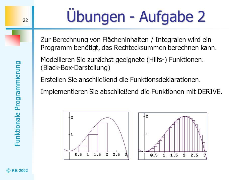 © KB 2002 Funktionale Programmierung 22 Übungen - Aufgabe 2 Zur Berechnung von Flächeninhalten / Integralen wird ein Programm benötigt, das Rechtecksu