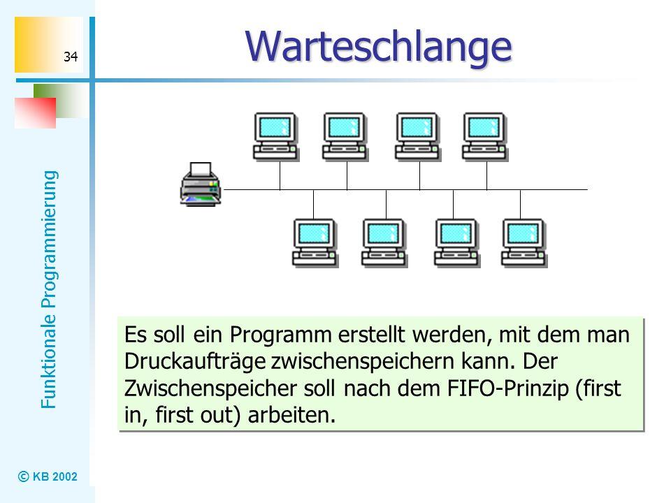 © KB 2002 Funktionale Programmierung 34 Warteschlange Es soll ein Programm erstellt werden, mit dem man Druckaufträge zwischenspeichern kann. Der Zwis
