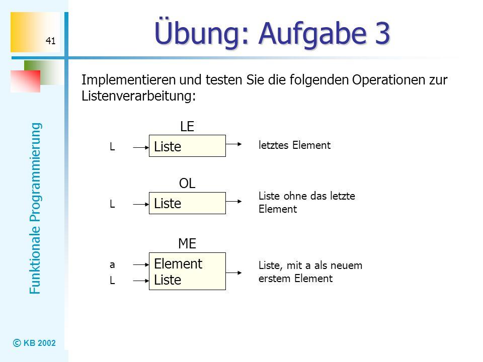 © KB 2002 Funktionale Programmierung 41 Übung: Aufgabe 3 Implementieren und testen Sie die folgenden Operationen zur Listenverarbeitung: Liste LE L le